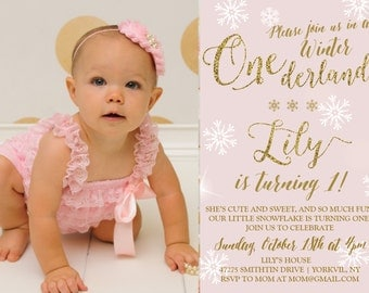 Gold and Pink Winter Onederland 1st Birthday Birthday Printable Invitation