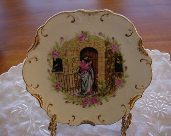 Religious 8 inch decorative plate with gold trim made in Japan