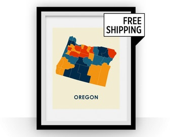 Oregon Map Print - Full Color Map Poster
