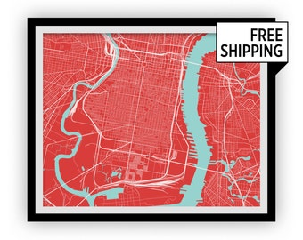 Philadelphia Map Print - Choose your color