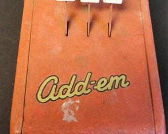 ADD-EM Adding Machine Vintage Collectible 1940's Original Condition