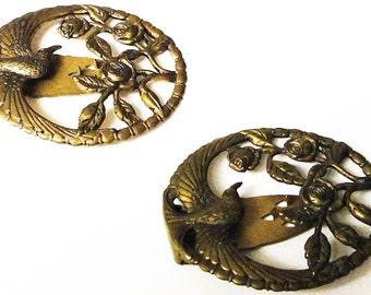 Brass Floral Shoe Clips Vintage Bird and Roses Floral Design 1950's