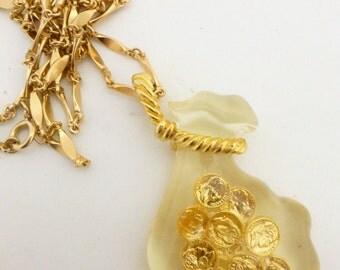 Lucite Fish Bowl Goldfish Pendant Necklace Castlecliff Book