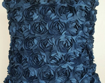 Blue Rosette Pillow Cover, Decorative Pillow, Throw Pillow, Romantic Decor, Roses