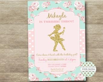 Ballerina birthday invitation/DIY printable Invitation/Girls birthday/Ballerina Party Birthday/Ballet Birthday Party/Dance Party-Mikayla