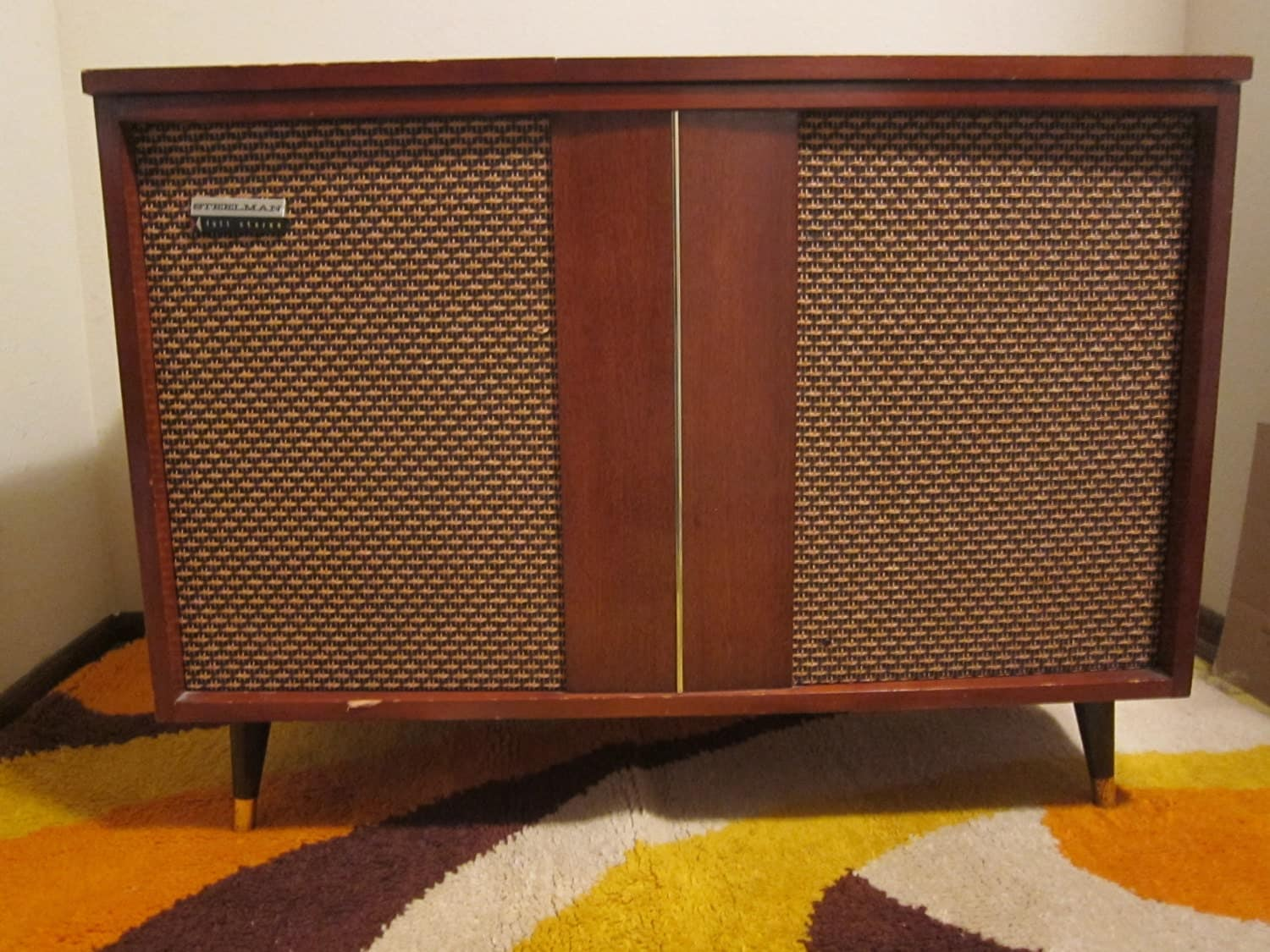 1950 s steelman full stereo console mid century modern with record