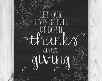 Thanks and Giving Fall Chalkboard Art Print, Thanksgiving Poster, Fall Art Print, Thanksgiving Typography, Home decor Art Print or Canvas