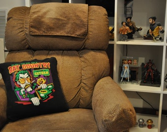 Recycled T-shirt Pillow - 16x16 comic movie pillow with removable cover