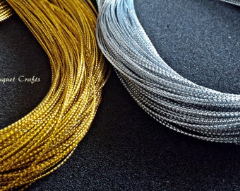 Metallic Gold String|Metallic Silver String|Jewelry Silver Thread|Jewelry Gold Thread|Gold Braided Cord|Silver Braided Cord|Hang tag String