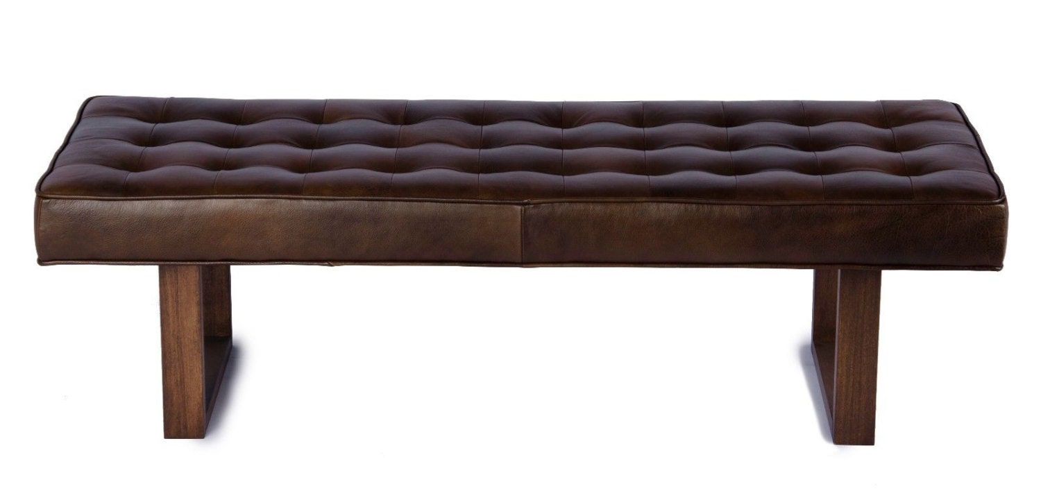Retro Modern Genuine Leather Bench Ottoman Coffee Table