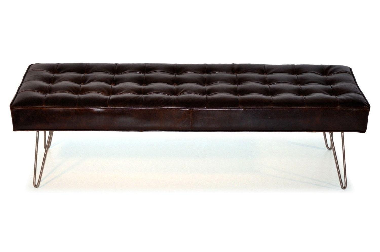 Mid Century Modern Dark Brown Button Tufting Leather