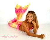 "Mermaid Tail for Swimming! With Monofin & Bikini Top! "" Tropical Sunrise"""