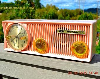 PINK VELVET Mid Century Retro Jetsons 1957 Motorola 57CS Port Hole Tube AM Clock Radio Totally Restored! Quiet Clock!