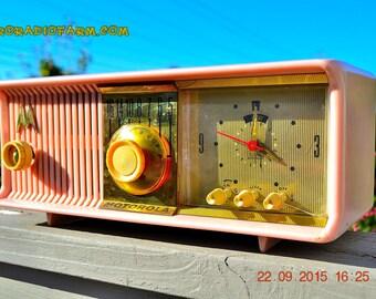 PRINCESS PINK Retro Jetsons 1957 Motorola 57CC Tube AM Clock Radio Totally Restored!