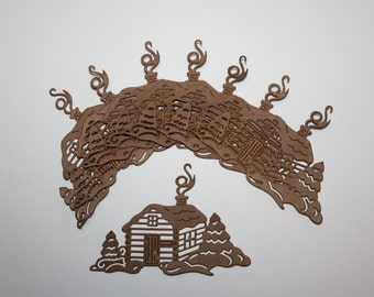 """10 """"Cabin In the Woods"""" Die Cuts,Cabin,Paper Cuts,Embellishments,Scrapbooking,Card Making,Diecuts,Christmas"""