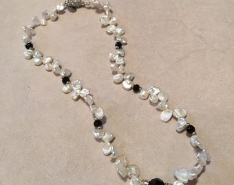 Pearl Keshi Necklace with Onyx Beads