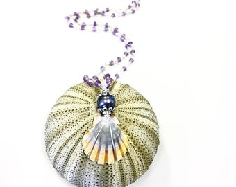 Kauai sunrise shell necklace with pearl and amethyst rosary