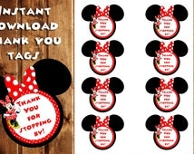 Minnie Mouse Thank You Tags, Minnie Mouse Gift Tags, Instant Download, Thank You Tags, Clubhouse, Minnie Birthday Tags, Birthday Stickers