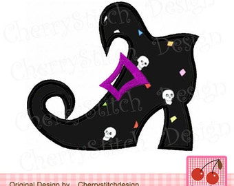 Halloween Witch's Boot Machine Embroidery Applique Design HL0014 - 4x4 5x5 6x6""