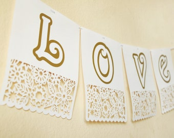 custom letter party banner floral paper cut square bunting - 5.5x7 inch