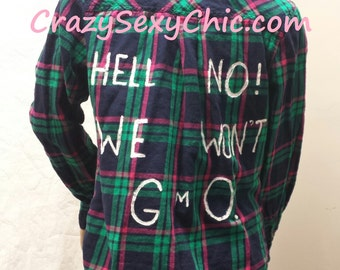 Pro Non-GMO Painted Flannel Shirt size jr Large GMO
