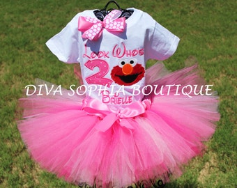 """Personalized Pink """"Look Who's""""  Elmo Tutu Set with Number - Newborn - Baby Infant Toddler up to size 4T -  Birthday Set"""