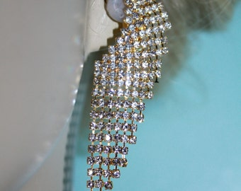 Clip On Chandelier Earrings Bridal Prom Pageant Rhinestone Crystal Drag 2.8 inch
