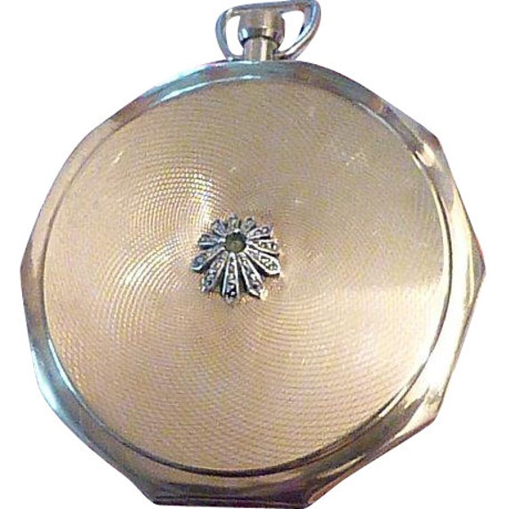 """Vintage Stratton """"Fob Convertible"""" compact silver set marcasite floral motif vintage powder compacts wedding party maid of honor bridesmaids"""