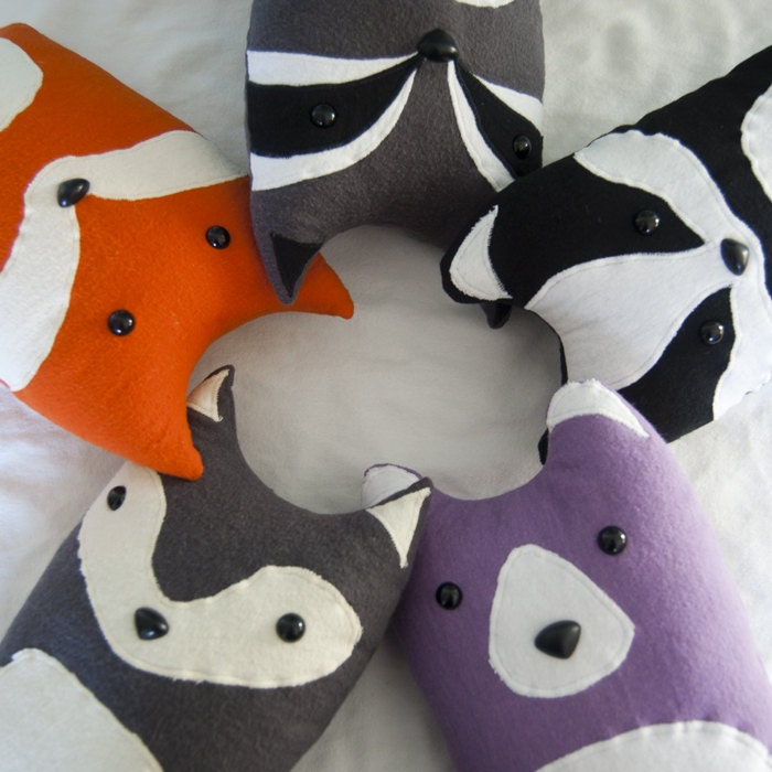 Animal Character Pillows : Handmade Woodland Animal Character Pillows & by FluffedAnimals