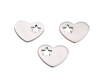 10 silver stainless steel heart, punched out star, 13 x 10 mm