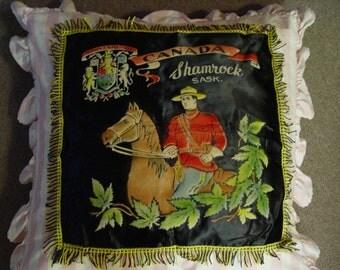Vintage Souvenir Pillow Cover - Canadian Mountie from Shamrock Saskatchewan