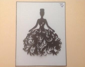 Four Sweet Silhouette Die Cuts/Lovely Ladies in Swirls -s2-2c