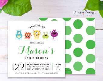 Monsters Child's Birthday Invitation - Baby, Toddler, Kid's Alien Birthday Party Invite -Little Monster Party - Digital File