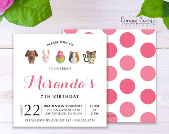 Pets Child's Birthday Invitation - Baby, Toddler, Kid's Adopt a Pet Birthday Party Invite - Pet Animals Party - Digital File