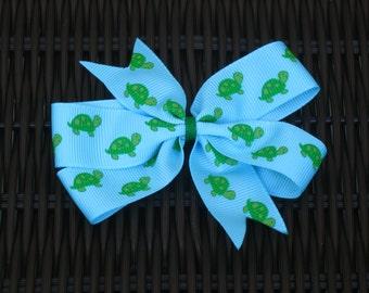 Turtle Themed 4 Inch Hair Bow - Turtle Themed Pinwheel Bow - Turtle Themed Party - Turtle Themed Party Favor -Marine Life Hair Bow -BowBravo