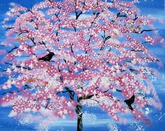 huge tree painting, large tree painting, large painting, large paintings, cherry blossom painting, large wall art, huge abstract art, pink
