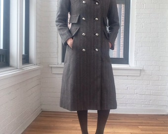 1960s Herring Bone Double Breasted Wool Coat
