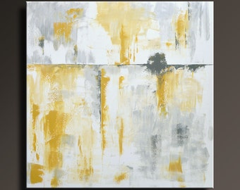 "ORIGINAL ABSTRACT PAINTING 36"" Yellow Gray Painting on Canvas Contemporary Abstract Modern Art wall decor by itarts- Unstretched-SQ25"