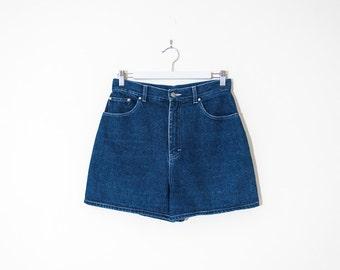 high waist blue jean shorts / high rise mini denim shorts / size 26 / 27