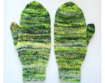 Neon Green and Yellow Merino Mittens - Hand Knit Hand Spun Wool Mittens - Men/Women