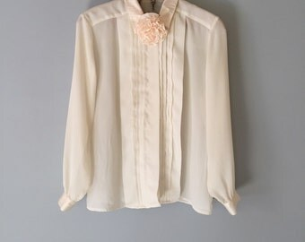 peony flower blouse | cream white pleated front blouse