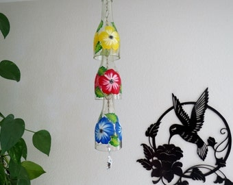 Glass Wind Chime, Upcycled wine bottle wind chime, Flowers, Red, Yellow and Blue, Sun catcher, yard art