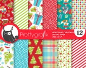 80% 0FF SALE Woodland christmas digital paper, commercial use, scrapbook papers, background chevron, sleigh - PS763