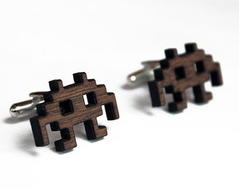 Alien Wood Cuff Links, wood cuff links, geek cuff links, geeky cufflinks, invader cufflinks, 8 bit cuff links, retro, christmas gift for him