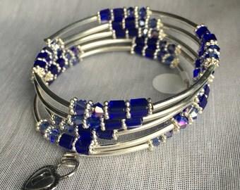 Blue Velvet Beaded Wrap Bracelet