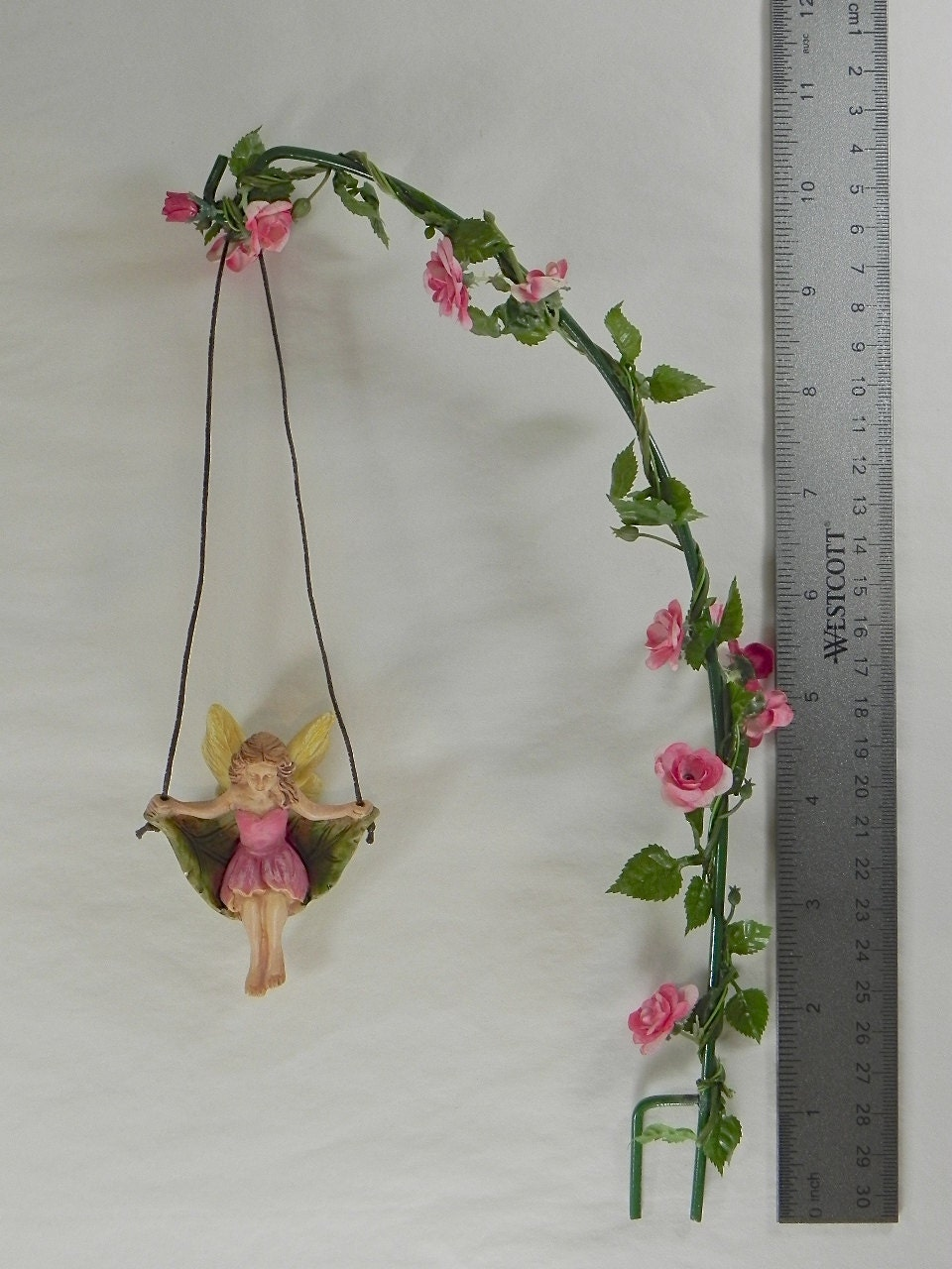 Fairy Garden Accessories Miniature Swing With Artificial Rose