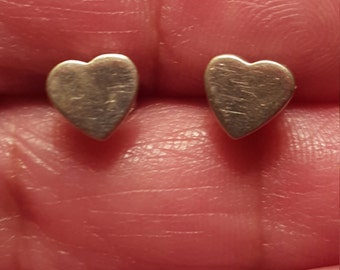 Tiny Vintage Sterling Silver Heart Stud Earrings