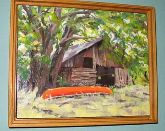Northern California Delta Barn Painting in Acrylic