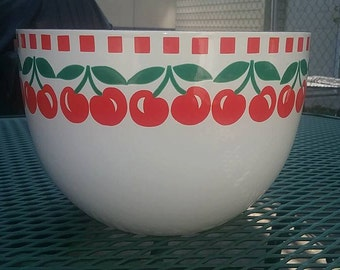 Hackman Findland Red and White Cherries Enamel Bowl