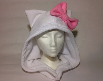 Fleece Hello Kitty Hood - Handmade Cat Hat- One Size - Made to Order